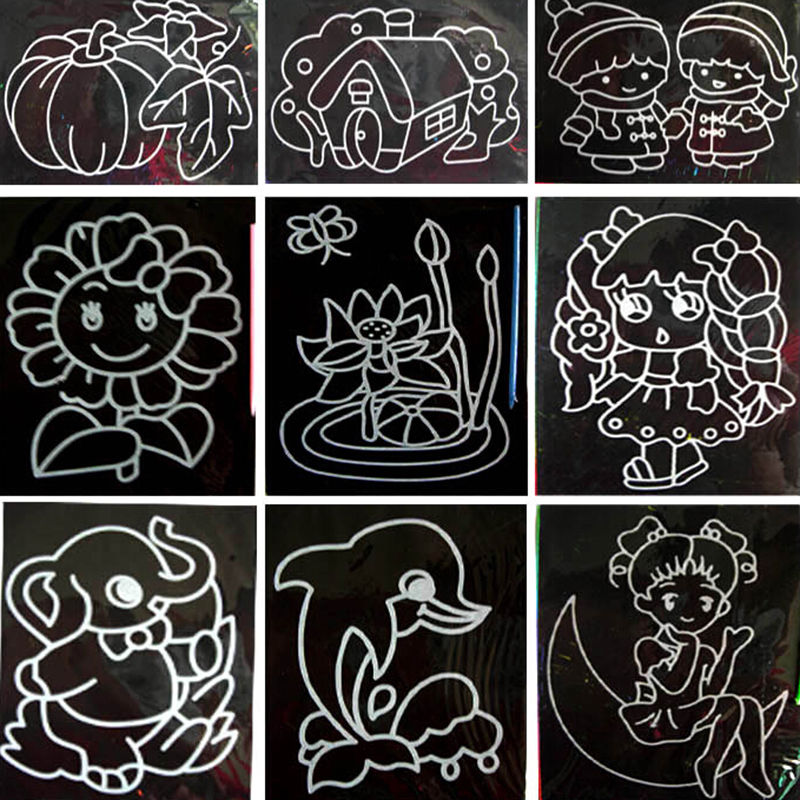 2017 10pcs/lot Two in one Magic Color Scratch Art Paper