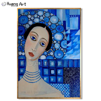 Hand-painted Modern Sexy Woman Portrait Oil Painting on Canvas Wall Art Decorative Figure Artwork Picture for Living Room