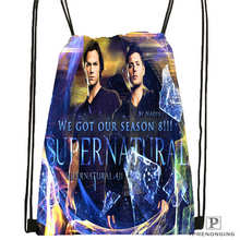 Custom Castiel-Dean-supernatural  Drawstring Backpack Bag Cute Daypack Kids Satchel (Black Back) 31x40cm#180612-02-33