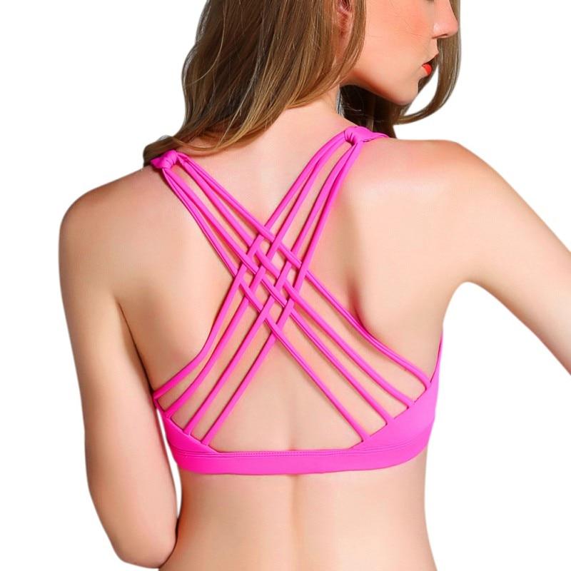Summer Push Up Bra Sexy Cross Bra Women Wire Free Fitness Bra Bandage Top Wear