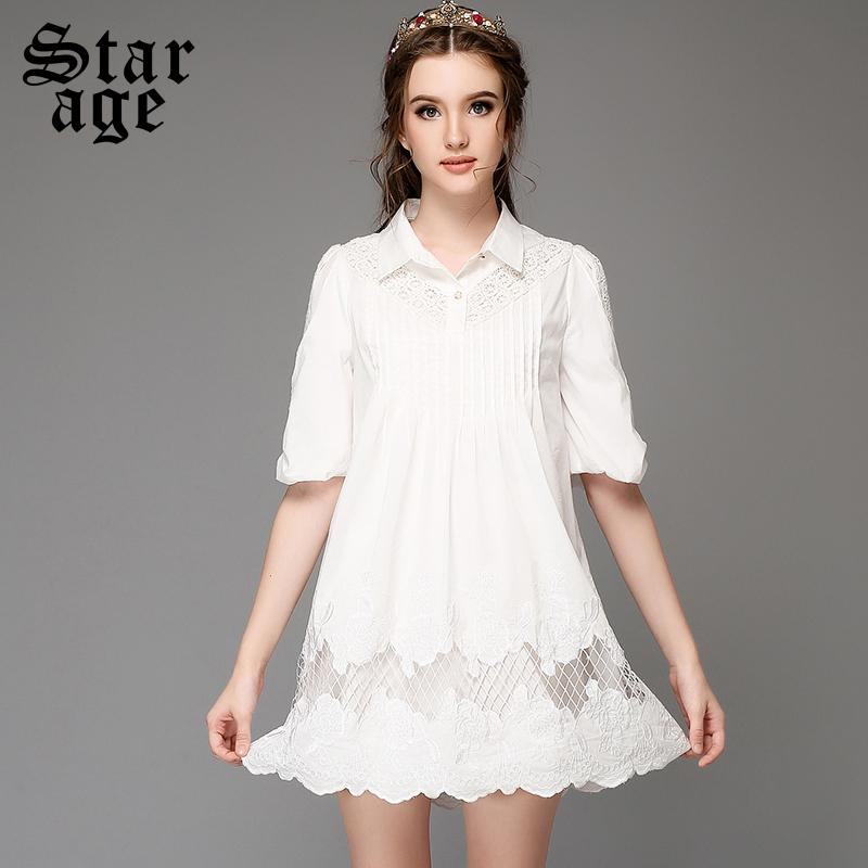 S 5xl Plus Size Women White Lace Embroidery Dress Big Size Short
