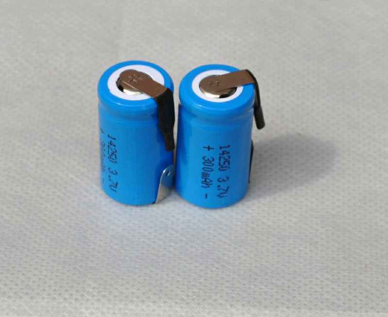 2PCS 3.7V <font><b>14250</b></font> li-ion <font><b>rechargeable</b></font> battery 300mah lithium ion li-ion cell with welding tab pins flat top image