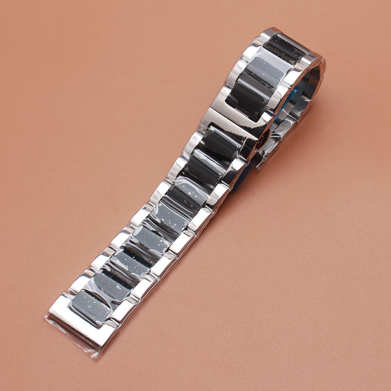 Stainless bracelet steel solid metal watchband Butterfly buckle watch strap 18 20 21 22 23 24mm wristwatches band black silver polished bright solid stainless steel watchband butterfly clasp metal wristwatches band rose gold silver watch 20mm 22mm23 24mm
