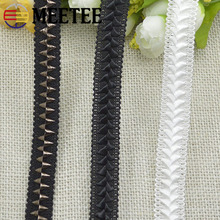 Meetee 1.7cm 10Meter White Black Lace Trim Band Knit Webbing for Clothing Skirt Handbag Decor Sewing Fabric Accessories RC201