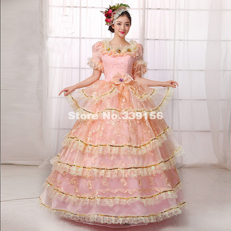 Best Seller Pink Lace Lolita Rococo Marie Antoinette Dress Renaissance Medieval 18th Century Gown Costume Vestidos