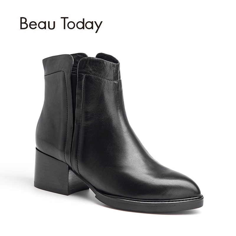 BeauToday Genuine Leather Chelsea Boots Women Spring Autumn Ankle Elastic Band Waxing Calf Leather Thick Heel Lady Shoes 03202 elastic band women genuine leather ankle boots chelsea hand made shoes motorcycle coincise fashion black matte women s boots