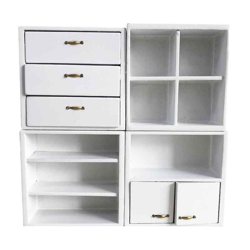 Mini Furniture White Cabinet 1:12 Four-In-One Doll House Accessories