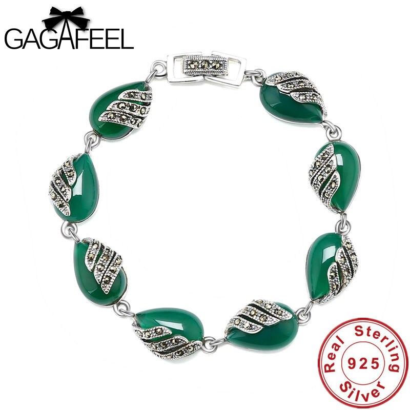 Gagafeel Women Bracelets Synthetic Garnet Blue Corundum 925 Sterling Silver Natural Green Stone S925 Thai Silver Chain Bracelets