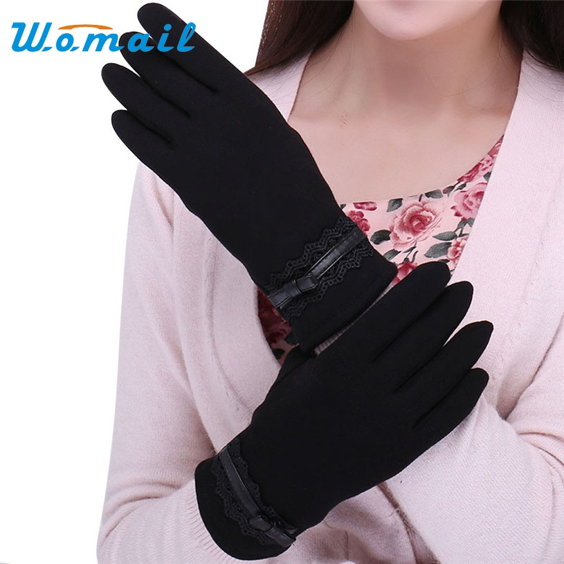 Womail luvas feminina Women gloves Hotsale Screen Soft Cotton Winter Warm Mittens Female Gloves 2017 Gift 1pair