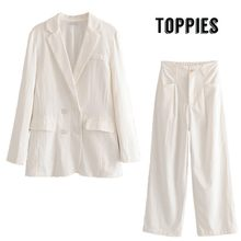 2019 Summer White Two Piece Suit Set Double Breasted Thin Blazer Jacket High Waist Wide Leg Pants Office Lady Formal Set(China)