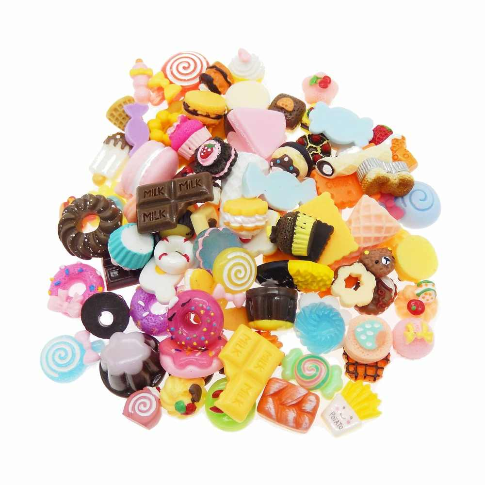 100pcs Mix Resin Food Shape Colorful Flatback Jewelry Dessert Cookie Cake Bread Candy Icecream Lollipops Cabochons Slime Charms