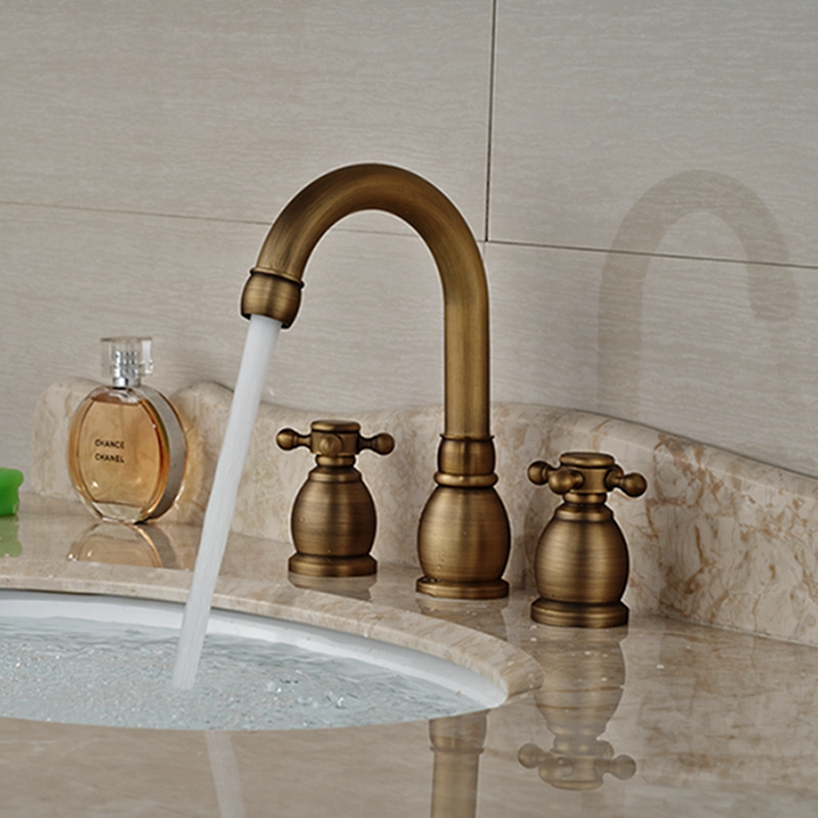 Wholesale And Retail Brand NEW Antique Brass Bathroom Sink Faucet Cross Handles Tall Spout Vanity Sink Mixer Tap antique brass swivel spout dual cross handles kitchen