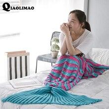 Mermaid Blanket Adult Fleece Mermaid Tail Blanket Striped Mermaid Blanket For Adults Kids Throw Bed Wrap Super Soft Sleeping Bag