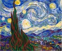 Bleu Nuit Étoilée Mur Art Peinture À L'huile Par Numéros DIY numérique Photos Coloration Par Numéro Sur Toile Cadeaux Faits À La Main La Maison décor
