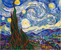 Blue Starry Night Wall Art Oil Painting By Numbers DIY Digital Pictures Coloring By Number On