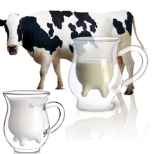 Cow Udder Shaped Juice Pitcher Clear Wine Beer Mug Cup Double Glazing Handle Glass Gift Innovative Milk Creamer Coffee creative glass cow cups double wall handgrip milk cup mug insulation transparent drinkware udder style creamer pitcher jug