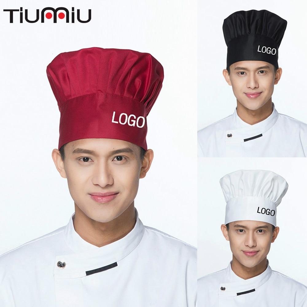 Chef Hat Restaurant Kitchen Unisex Hotel Cookgorro Cocinero Free LOGO Printing Hats Waiter Workwear Mushroom Caps Wholesale