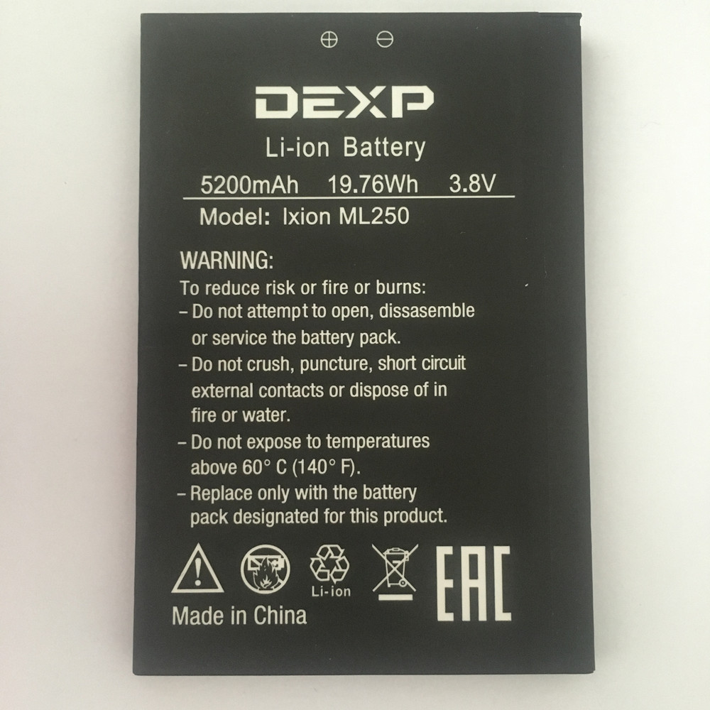 New 5200mAh FGHGF ML250 Battery For DEXP AMPER M Ixion ML250 ML 250 Baterij Batterie Mobile Phone Batteries