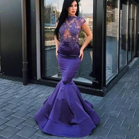 Dark Purple Long Evening Gowns High Neck Short Sleeves Mermaid Party Dresses Sexy See Through Lace Applique Prom Gowns Custom