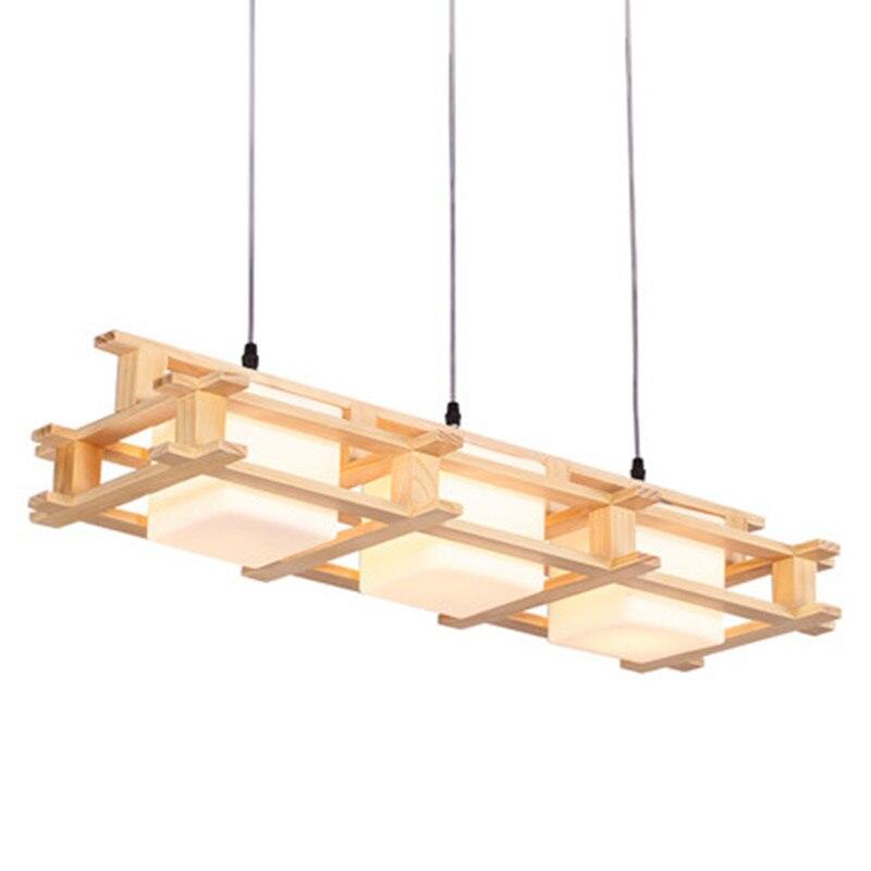 Skandinávská umělecká atmosféra Creative Moderní Jednoduchá Jednoduchá Hlava 3 Čínská Dřevěná Pendant Lampa