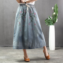 Nation Woman Vintage Plus Size Denim Skirt Spring Summer Floral Embroidered Elastic Waist Loose Casual Washed Jeans Long Skirt plus size floral embroidered mesh skirt
