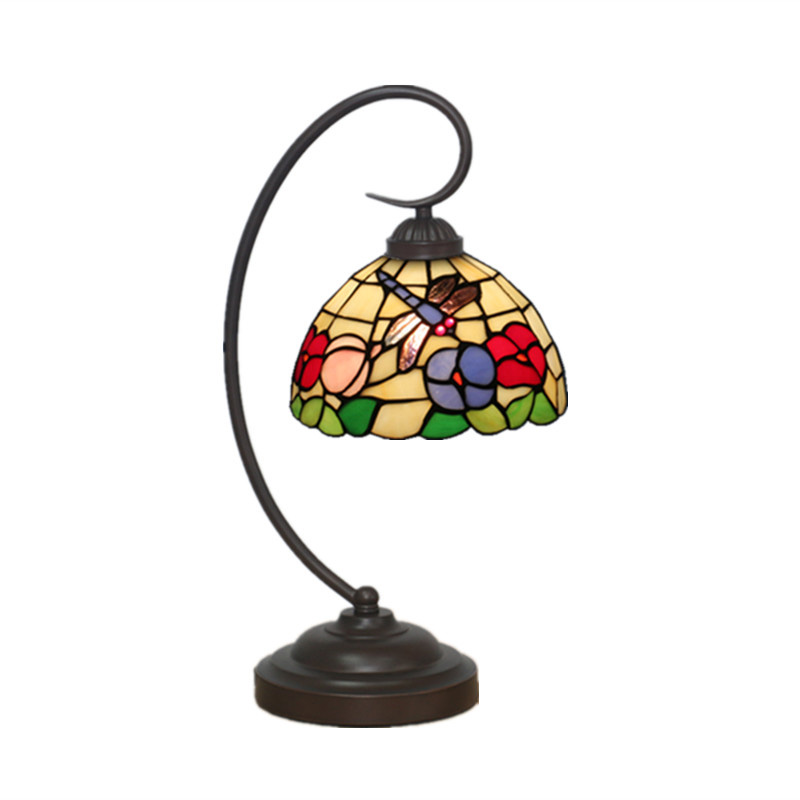 European Vintage Tiffany Style Table Lamp Dragonfly Stained Glass Lampshade Desk  Light Bedside Reading Night Light