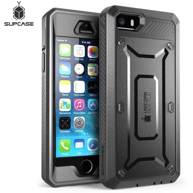 Supcase for iphone se 5 5 s 케이스 ub pro 전신 견고한 홀스터 클립 보호 커버 내장 스크린 보호 케이스 포함