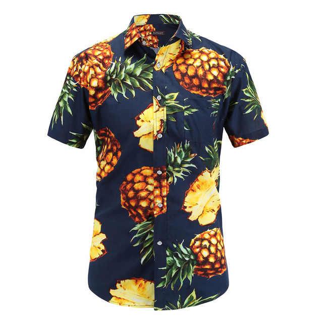 2019 estilo de playa moda piña patrón Hawaiano hombres camisa de manga corta estampado S-3XL