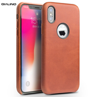 QIALINO Genuine Leather Luxury Back Cover for Apple for iPhone X Business Style Vintage Handmade Phone Case for iPhoneX 5.8 inch