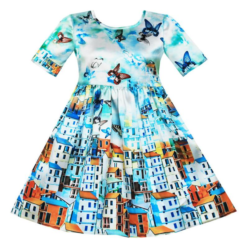 Sunny Fashion Girls Dress Satin Blue Sky Butterfly City Building 2018 Summer Princess Wedding Party Dresses Clothes Size 4-10
