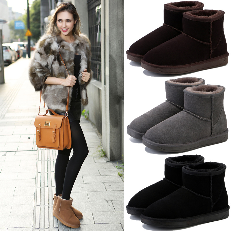 Durable TPR beef tendon Genuine Leather fabric ladies snow boots Suede leather plus velvet short tube Mans footwear snow boots in Snow Boots from Shoes