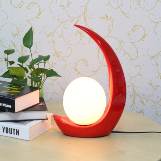 ФОТО Modern Moon Boat Desk Lamps White/Red Nordic Bedroom Bed Side Reading Table Lights Fixture Home Indoor Study Desk Lights