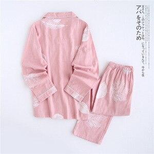 Image 5 - Fresh maple leaf pajama sets women 100% gauze cotton long sleeve casual sleepwear women pyjama pijamas para mujer