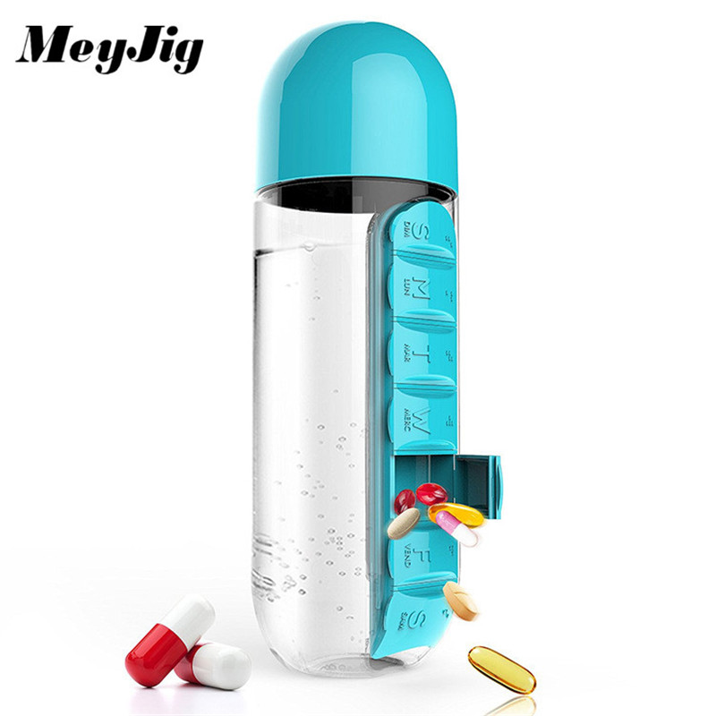 MeyJig 600ML Creative Plastic Leak-Proof Bottle My Water Bottle Combine with Daily Pill Box Drinkware Students Gifts Easy Carry