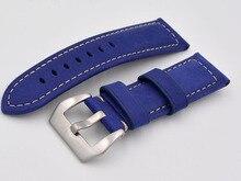 24 MM 26 MM Givré Bleu Rétro En Cuir Bracelets, hommes Modèles En Cuir de Vachette Strap Pour panerai Ou Sport Montre, Shiping Libre