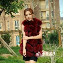 Luxury Women's Winter Warm Genuine Fur Female Whole Real Fox Fur Vest Ladies Waistcoat Natural Long Fox Furs Coat