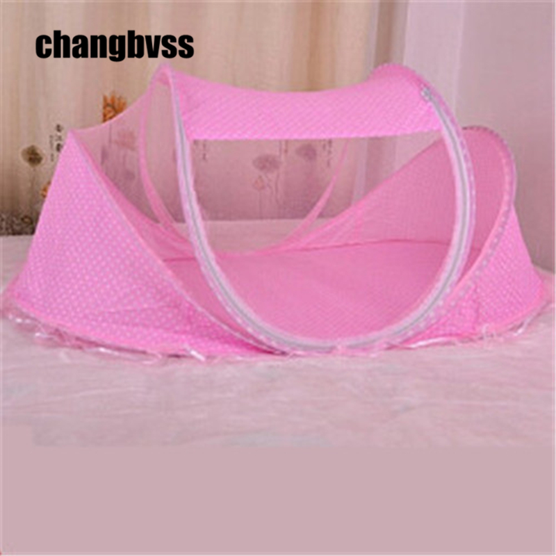 ФОТО Portable baby bed 2015 0-3 Years Portable Foldable Baby Crib With Netting Newborn Sleep Bed Travel Colour:Bule and pink