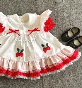 Image 3 - Sommer Mädchen Rot Spitze Erdbeere Blume Prinzessin Kleid Vintage Spanisch Kleid Lolita Party Kleid für Mädchen Baumwolle Casual Kleid
