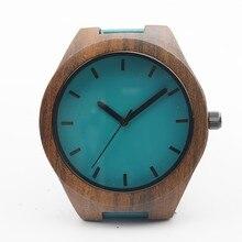 Черный сандал деревянный relojes кварцевые мужские часы свободного покроя синий цвет кожаный ремешок часы древесины мужской наручные часы relogio Masculino