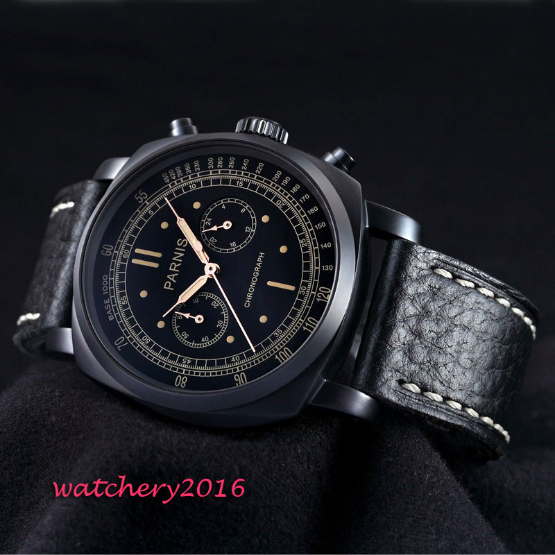 Hot Newest 44mm Parnis black dial pvd top brand Luxury Luminous Hand leather strap Chronograph Quartz Movement Mens WristwatchesHot Newest 44mm Parnis black dial pvd top brand Luxury Luminous Hand leather strap Chronograph Quartz Movement Mens Wristwatches