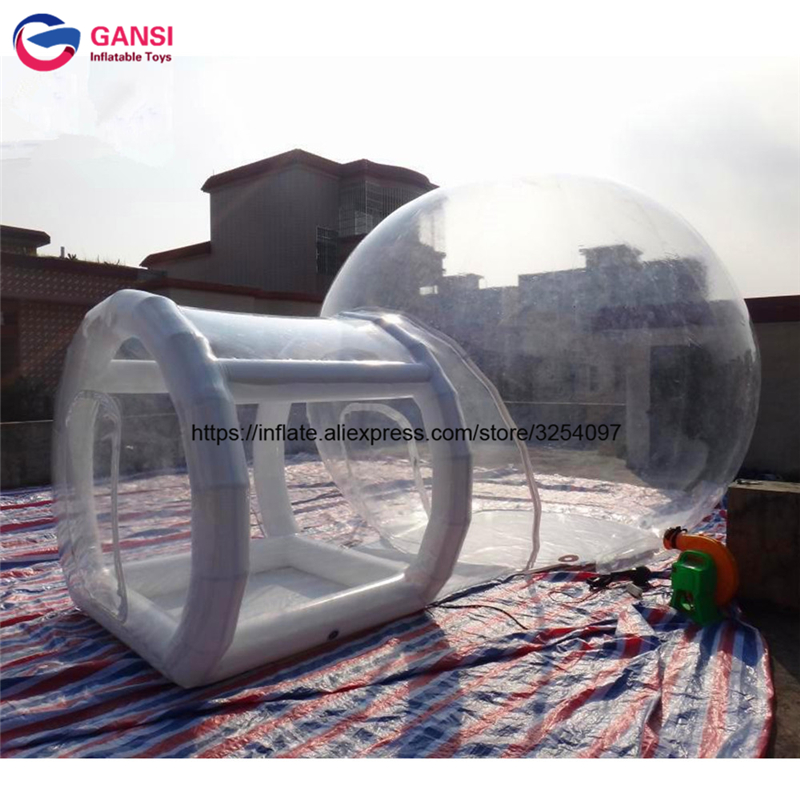Outdoor inflatable transparent tent romantic camping equipment 0.8mm PVC clear dome pavilion lows price inflatable camping tent factory price hot selling outdoor party event waterproof clear dome tent inflatable transparent bubble tent for camping