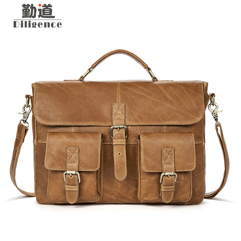 Men Genuine Cowhide Leather Vintage Briefcases Mens Messenger Bags Male Business Office Bag Lawyer Laptop El hombre de Blosas