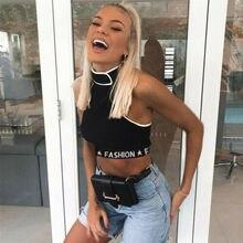 Summer Tank Tops 2019 New Women Casual Sleeveless Turtleneck Letter Print Patchwork Knit Short
