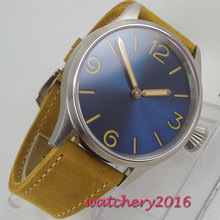 43mm parnis Blue dial Hand Winding Sapphire Glass Brushed Case Leather strap 17 Jewels Japan mechanical Mens Wrist Watch