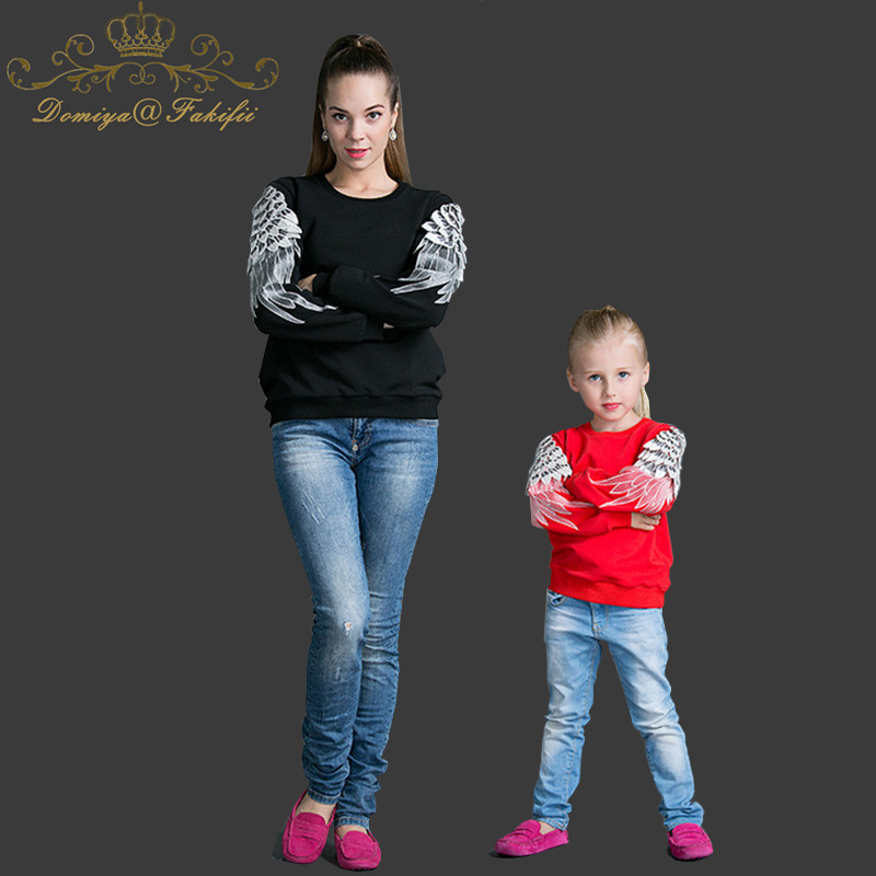 2018 Brand Kid Embroider Angel Wings hoodies Tops Girl boy t shirt Children Clothing family clothing Mother and daughter clothes children clothing mother
