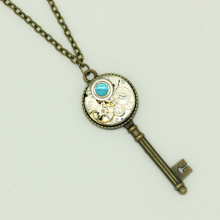 Steampunk Mechanical Vintage Watch Movement Key Pendant Necklace Handmade Unique Jewelry