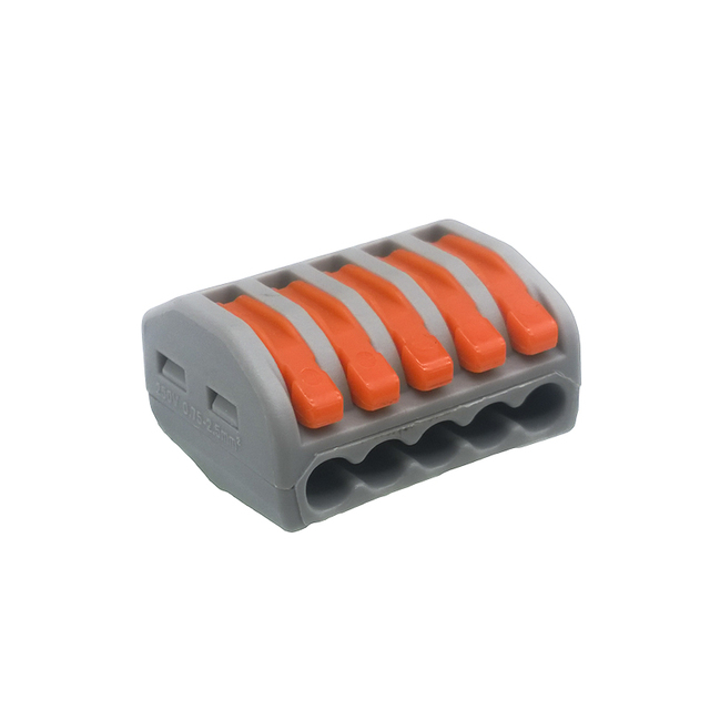 (5 pcs/lot) WAGO 222-415 (PCT215) Universal Compact Wire Wiring Connector 5 pin Conductor Terminal Block With Lever 0.08-2.5mm2
