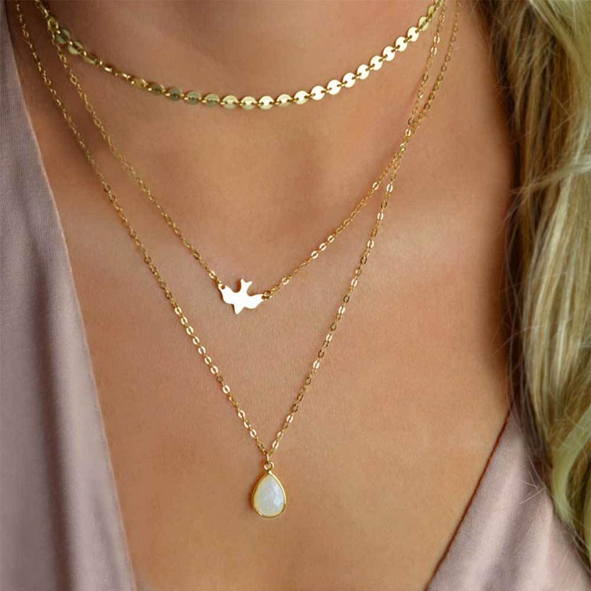 2017 New Peace Dove Soar Flying Layers Crystal Sequins Chain pigeon bird Water Drop Pendant Multilayer Necklace