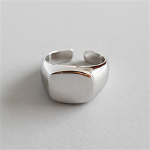 Flyleaf 925 Sterling Silver Rings For Women Light Wide Square Femme Fashion Fine Jewelry Simple Open Ring Vintage High Quality flyleaf 925 sterling silver rings for women high quality simple cross weave fashion open ring vintage femme fine jewelry gif