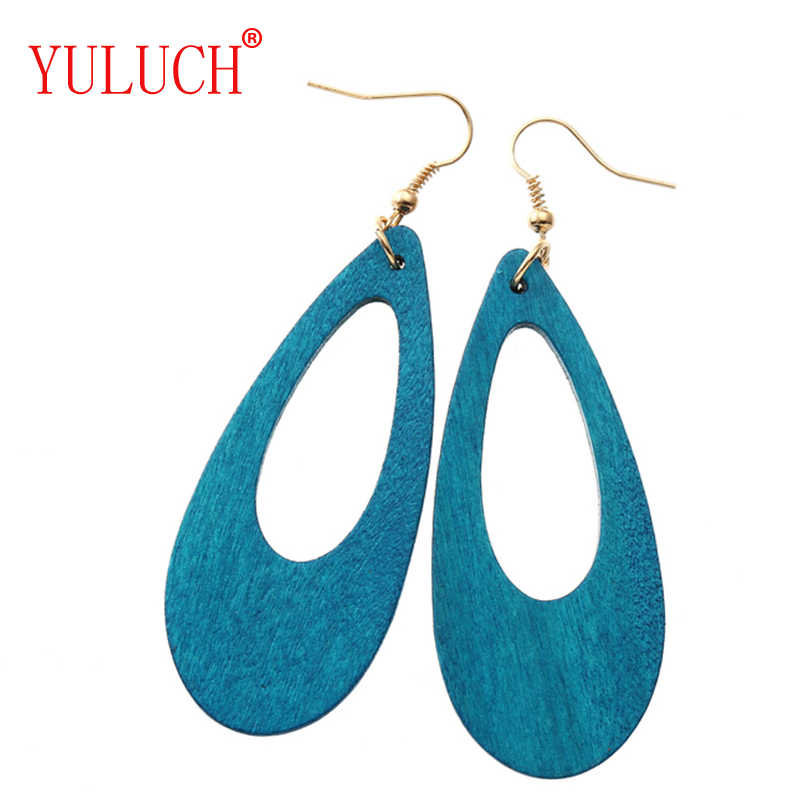 YULUCH China Natural Wood 4 Color Drop Art Pendant Earrings Simple Jewelry Accessories For Women's Party Holiday Gifts